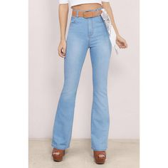 MINKPINK Dangerous Bell Bottom Jeans ($88) ❤ liked on Polyvore featuring jeans, light wash, minkpink, highwaist jeans, highwaisted jeans, light wash high waisted jeans and blue jeans