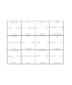 Solving Equations Puzzle (Variables on One Side)