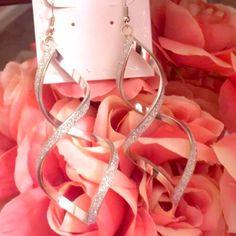 Glamorous silver earrings Glittery silver earrings Jewelry Earrings