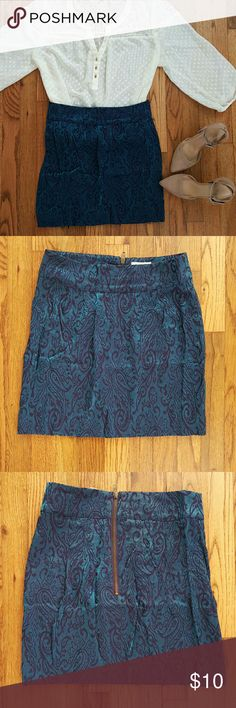 """💥$5 SALE💥 SILENCE + NOISE Blue Shimmer Skirt $5 SALE TODAY ONLY   Shades of blue. Textured paisley print. Exposed back zipper. Pleated at waist. Above knee length.   Size 8 but fits more like a 6.  Waist 14.5"""", Length 17"""" silence + noise Skirts"""
