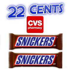 Cheap at CVS this week : Snickers Candy Bars $0.22 - http://couponsdowork.com/cvs-weekly-ad/snickers-cvs-dealio/