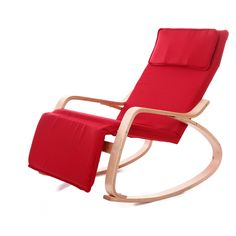 Comfortable Relax Wood Rocking Chair With Foot Rest Design Living Room Furniture Adult Lounge Chair Recliner with Fabric Cushion