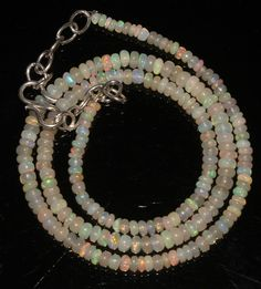 """33Ctw1Necklace 2to4mm 16"""" Beads Natural Genuine Ethiopian Welo Fire Opal 91944"""