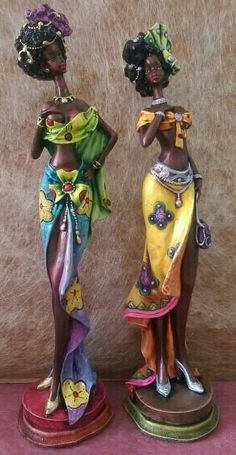 African American Figurines, African American Art, African Women, African Art Paintings, African Artwork, Doll Crafts, Clay Crafts, Black Figurines, Human Sculpture