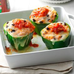 If you're thinking about a meatless meal, give these no-fuss peppers a try. They come together with just a few ingredients and put a tasty spin on a low-fat dinner! —Cindy Reams, Philipsburg, PA Easy Vegetarian Dinner, Vegetarian Recipes, Cooking Recipes, Healthy Recipes, Bean Recipes, Mexican Recipes, Healthy Meals, Vegetarian Casserole, Vegetarian Mexican