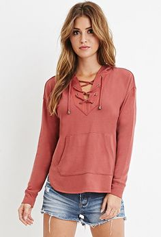 Lace-Up Hoodie | Forever 21 - 2000180821