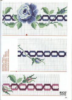 rosas - bordado ponto cruz