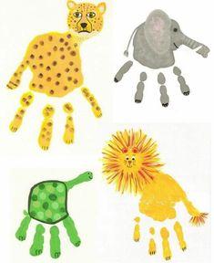 handabdruck bilder leopard, elefant, schildkröte und löwe