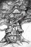 "Képtalálat a következőre: ""cool drawings"" Tree House Drawing, Castle Drawing, Building Drawing, Tree House Designs, Cute Fairy, Cute House, Pen Sketch, Fairy Houses, Cool Drawings"