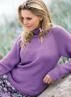 Сиреневый свитер с рукавом реглан - схема вязания спицами. Вяжем Свитеры на Verena.ru