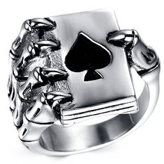 762079f4c8 HAMANY Jewelry Mens Stainless Steel Gothic Skull Hand Claw Poker Playing  Card Ring,Black Silver