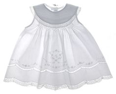 NEW Feltman Brothers White Sleeveless Smocked Baby Dress with Pintucked Portrait Collar $60.00