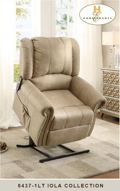 Iola Collection Taupe Fabric Upholstered Power Lift Recliner Chair With  Nail Head Trim. Measures X X H. Some Assembly May Be Required.