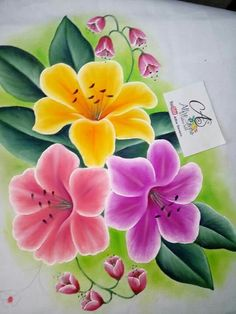 Acrylic Flowers, Paper Flowers, Fabric Painting, Painting & Drawing, Cross Stitch Patterns Free Disney, Donna Dewberry Painting, Hand Painted Sarees, Fabric Paint Designs, Fruit Picture