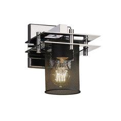 """Justice Design Group MSH-8171-10 Wire Mesh 6.5"""" Bathroom Sconce"""
