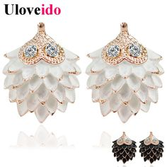 Find More Stud Earrings Information about Uloveido Rose Gold Animal Cute Hedgehog Stud Earrings For Women Crystal White Black  Earring Jewelry Orecchini Donna HYE254,High Quality earring accessories,China earring key Suppliers, Cheap earring diamond from Ulovestore Fashion Jewelry on Aliexpress.com