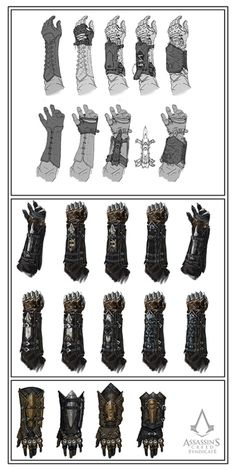 Concept art for Assassin's Creed Syndicate- Evolution of the gauntlets Fantasy Armor, Fantasy Weapons, Final Fantasy, Armor Concept, Weapon Concept Art, Assasins Cred, Assassin's Creed Hidden Blade, Assassins Creed Costume, All Assassin's Creed
