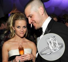 #ReeseWitherspoon #engagementring from #JimToth - a 4ct emerald cut diamond in a pave band