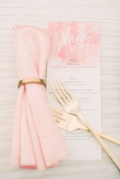 Blush watercolor menu and napkin: http://www.stylemepretty.com/collection/2127/