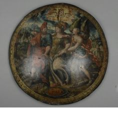 Pageant shield, artist unknown, Italian, ca. 1590. Wood, canvas, gesso, oil paint, gold and iron. Diameter: 48.5 cm (19 in. )Weight: 1.67 kg (3.68 lbs.) Inscription: 'V E N I A M ·O V O C V N O V E · V O C A R I S' 'I shall come wherever thou art called Inscription: 'E T · D V B I T A M V S · A D H V C / V I R V T E M E X T E N D E R E F A C T I S' 'And do we still hesitate to enlarge our prowess by deeds' Courtesy of the Wallace Collection.