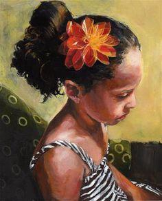 """Girl with Orange Flower"" - Original Fine Art for Sale - � Felicia  Marshall"