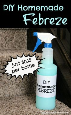 With just 4 ingredients, this DIY Homemade Febreze is only $0.15/bottle and will leave your home smelling fresh and yummy!