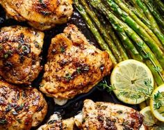 One Pan Lemon Thyme Chicken Asparagus is a super easy 'throw-together' recipe. Healthy and made with only a handful of uncomplicated ingredients! Lemon Thyme Chicken, Garlic Butter Chicken, Chicken Asparagus, Asparagus Recipe, Garlic Parmesan, Lemon Herb, Asparagus Skillet, Baked Garlic, Chicken Salad