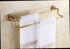 53.30$  Watch now - http://ali6tu.worldwells.pw/go.php?t=1998147368 - Vintage Style Antique Brass Bathroom Towel Bar Holder Dual Bars Solid Brass Wall Mounted 53.30$
