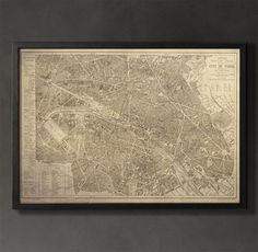 Could have vintage maps of 3 main locations in each office....  This vintage style Paris map print poster gives a detailed account of what the city of Paris was like back in the mid-1900s. The year this map was created was the same year that the city began a transformation. Like all of our posters, this Paris map is printed on premium archival stock.  #paris-map-print
