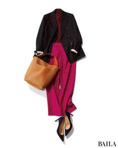 今季流行のカラー×カラーのコーディネート。初心者がトライするなら、ボルドー×ピンクの暖色合わせがおすすめ。ワントーンなムードで、悪目立ちせずスタイリッシュにまとまります。こんなコーディネートを平日に着るなら、はおりにかっちしたネイビーのジャケットを。清潔感がぐっと上がって、好感度・・・ Casual Winter Outfits, Classy Outfits, New Outfits, Chic Outfits, Fall Outfits, Fashion Outfits, Muslim Fashion, Korean Fashion, Japan Outfit