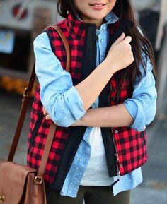 Red-White Plaid Print Checkered Herringbone Sleeveless Cotton Vest