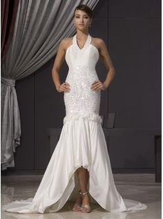 Wedding Dresses - $204.99 - Trumpet/Mermaid Halter Asymmetrical Taffeta Wedding Dress With Beading Flower(s) Sequins  http://www.dressfirst.com/Trumpet-Mermaid-Halter-Asymmetrical-Taffeta-Wedding-Dress-With-Beading-Flower-S-Sequins-002014475-g14475
