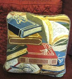 Elegant Book Design Needlepoint Pillow in Embroidery Silks