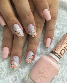 Stay current on the chicest trends in nails, Our favorite nail designs, tips and inspiration for women of every age! Rose Nails, Flower Nails, Fun Nails, Pretty Nails, Fabulous Nails, Creative Nails, French Nails, Manicure And Pedicure, Nail Arts