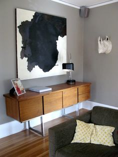Credenza and cow hide