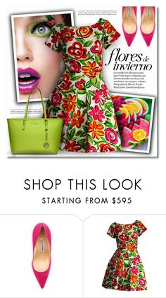 """""""Oversize Florals"""" by debraelizabeth ❤ liked on Polyvore featuring Nicole Miller, Manolo Blahnik, Arnold Scaasi and Michael Kors"""