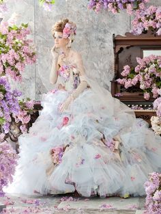 Stella de Libero, gown, couture, wedding, bridal, dress, fantasy, flowers, flower, floral, flora, fairytale, fashion, designer