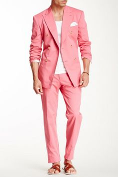MOSCHINO Homme Pink Peak Lapel Double Breasted Suit