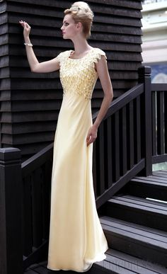 Gorgeous A-Line Square Floor-Length Beadings Evening/Homecoming Dresses