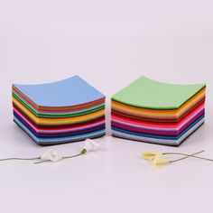 44Pcs 10X10CM Non Woven Felt Fabric 1MM Thickness Polyester Cloth Felts DIY Handmade Sewing Home Decor Material #Affiliate
