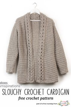 Crochet this slouchy cardigan sweater from my crochet accessories that look knit free pattern roundup!