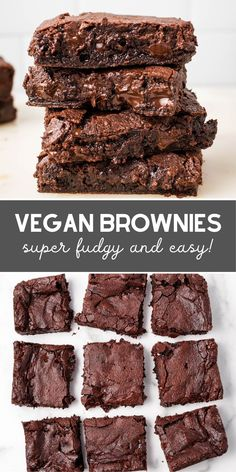 Super fudgy, so easy to make, and mind-blowingly delicious homemade vegan brownies! These will surely cure your chocolate craving. snacks herzhaft The Best Fudgy Vegan Brownies Vegan Baking Recipes, Vegan Dessert Recipes, Brownie Recipes, Dairy Free Recipes, Chocolate Recipes, Dessert Food, Dog Recipes, Vegan Treats, Vegan Foods