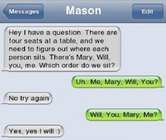 Will, You, Mary, Me ? This is crazy lame and cheesy but I smiled