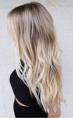 Effortless Ombre Ash Blonde Wavy Hair
