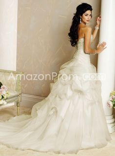 gorgeous a line strapless embroidering organza chapel wedding dresses