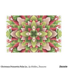 Christmas Poinsettia Palm Leaves Mandala Placemat Christmas Mandala, Christmas Poinsettia, Forever Flowers, How To Make Breakfast, Placemat, Holiday Cards, Vibrant Colors, Palm