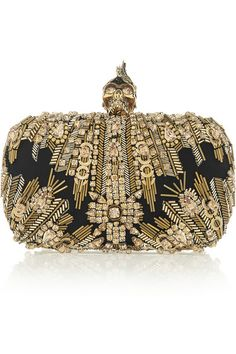 Embellished Opulence: we're taking 'more is more' as our fashion directive for fall. Alexander McQueen - The Skull Swarovski crystal-embellished black and gold box clutch Alexander Mcqueen Clutch, Mcqueen 3, Alexander Wang, It Bag, Fashion Bags, Fashion Accessories, Paris Fashion, Cheap Designer Handbags, Replica Handbags