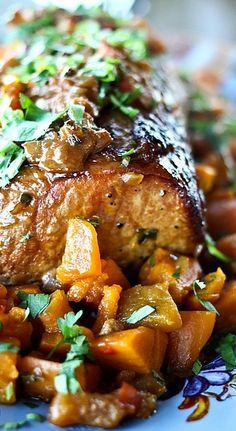 Slow Cooker Peach Salsa Pork Roast with Sweet Potatoes