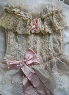 Stunning Vintage Bustier~I love the beautiful aqua and pink satin ribbon against the lace~❥