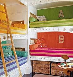 Built In Bunks .one day a bunk room for little ones @ the beach house Bunk Beds Built In, Kids Bunk Beds, Loft Beds, Bunk Rooms, Bed Mattress, Kid Spaces, Small Spaces, Home Design, Design Ideas